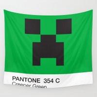 pantone Wall Tapestries featuring Creeper Green Pantone  by Blu Cloud Industries