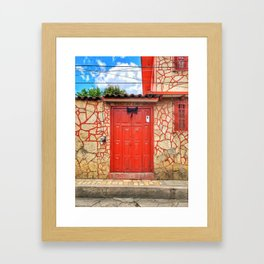 Door, Red with Black Bow (San Cristóbal de las Casas, Chiapas, Mexico) Framed Art Print