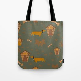 Seamless Dog Pattern with trail and doghouses Tote Bag