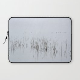 Wid Ducks. Foggy Sunrise At The Lake Laptop Sleeve