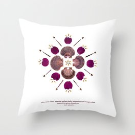nature mandala... pine cone seeds, mexican scallop shells, pressed purple bougainvillea... Throw Pillow