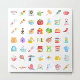 CUTE COOKING PATTERN Metal Print