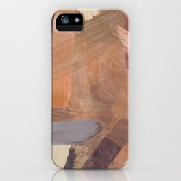 brush painting texture abstract background in brown and black iPhone Case
