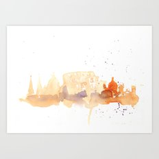 Watercolor landscape illustration_Rome - Colosseum Art Print