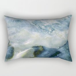 Sea Blue Abstract Rectangular Pillow