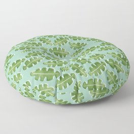 Green Off Set Cut Out Leaf on a Green Background Floor Pillow