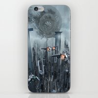 sci fi iPhone & iPod Skins featuring Sci-Fi City by Michael Lenehan