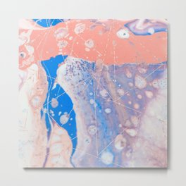 blue and peach marble with rose gold pattern Metal Print