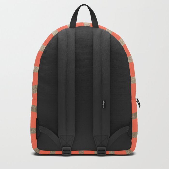 Simply Drawn Stripes in White Gold Sands on Deep Coral Backpack