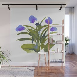 Atom Flowers #34 in purple and green Wall Mural