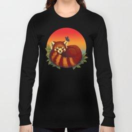 Red Panda Has Blue Butterfly Friend Long Sleeve T-shirt