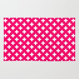 White Crosses on Hot Neon Pink Rug