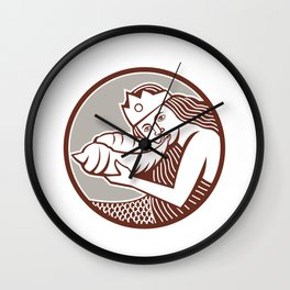Mermaid Blowing Conch Shell Circle Retro Wall Clock