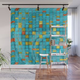 Block Aqua Blue and Yellow Art - Block Party 2 - Sharon Cummings Wall Mural