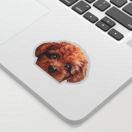 Toy poodle red brown Dog illustration original painting print Sticker