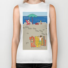 Afternoon at the beach (a) Biker Tank