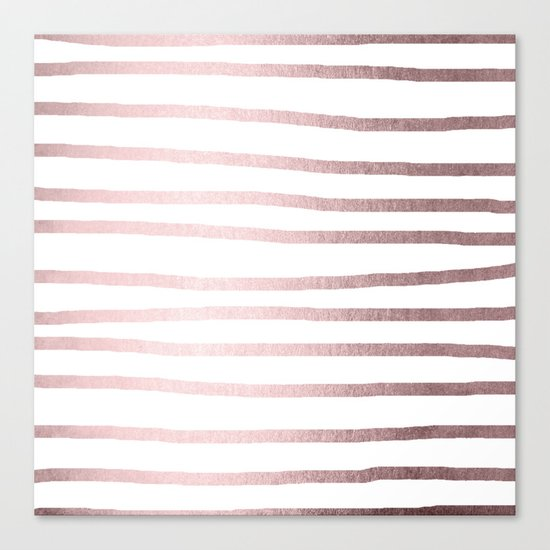 Simply Drawn Stripes Rose Gold Palace Canvas Print