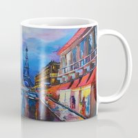 eiffel Mugs featuring Eiffel Tower Street by ArtSchool