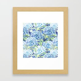 Botanical pink blue watercolor hortensia floral Framed Art Print
