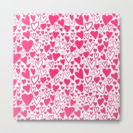 Pink hearts love Metal Print