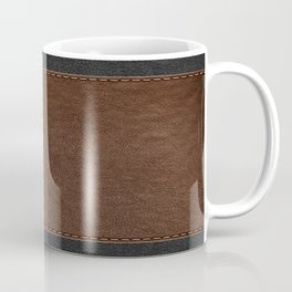 Brown & Black Stitched Leather Coffee Mug