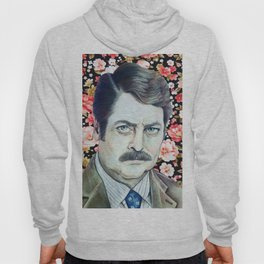 Ron Swanson - Floral Hoody