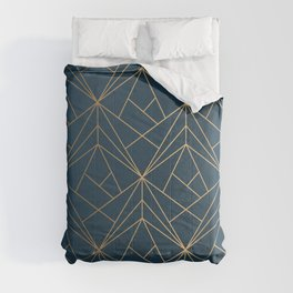 Benjamin Moore Hidden Sapphire Gold Geometric Pattern With White Shimmer Comforters