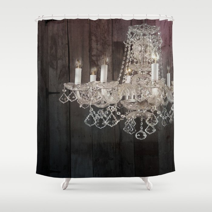 Rustic Barn Wood Western Country Chandelier Shower Curtain