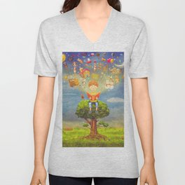 Little boy sitting on the tree and  reading a book, objects flying out Unisex V-Neck