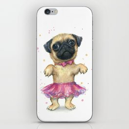Cute Pug Puppy Dog Watercolor Painting iPhone Skin