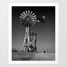 Plains Frontier Windmill at 1880's Town in South Dakota in Black and White Art Print