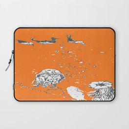 Two Tailed Duck and Jellyfish Orange Laptop Sleeve