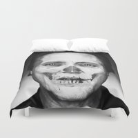christopher walken Duvet Covers featuring CHRISTOPHER WALKEN SKULL by Maioriz Home
