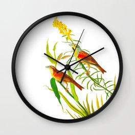 Birds & Yellow Flowers Wall Clock