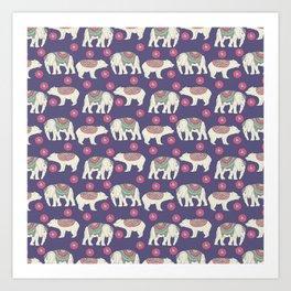 Vintage ethnic Indian elephant wild bear Art Print