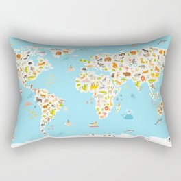 Animals world map. Beautiful cheerful colorful vector illustration for children and kids. Preschool, Rectangular Pillow
