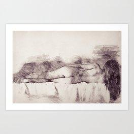 Lying on the bed. Nude studio Art Print