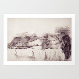 Lying on the bed. Nude studio Art Print