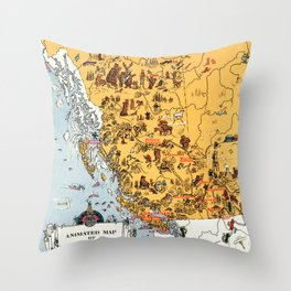 1929 Map of British Columbia Throw Pillow