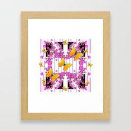 White Color Yellow Butterflies & Pink Flowers Black Framed Art Print