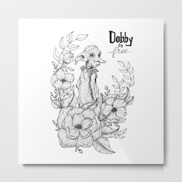 Dobby is free - Hand-drawn - Floral frame Metal Print