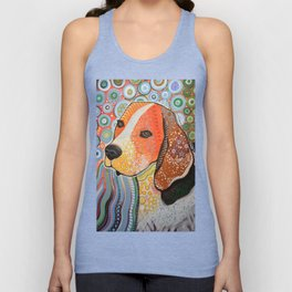 Rocky ... Abstract pet dog portrait art, Beagle Unisex Tank Top