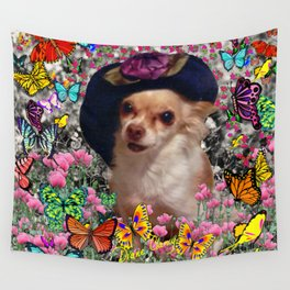 Chi Chi in Yellow, Orange, Red Rainbow Butterflies, Chihuahua Puppy Dog Wall Tapestry