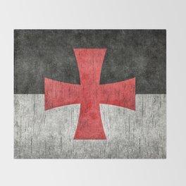 Knights Templar Flag in Super Grunge Throw Blanket