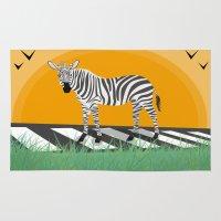 zebra Area & Throw Rugs featuring Zebra by Nir P
