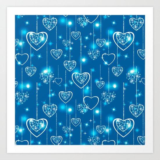 Bright openwork hearts on a light blue background. Art Print