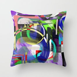 Try To Make Sense Of It All - Random, geometric, eclectic, abstract, colourful art Throw Pillow