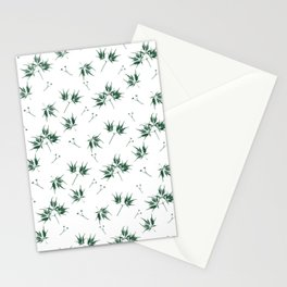 Green Acer Pattern Stationery Cards