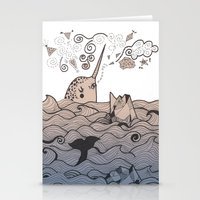 narwhal Stationery Cards featuring Narwhal by Judit Canela
