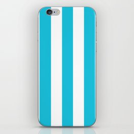 Caribbean blue - solid color - white vertical lines pattern iPhone Skin